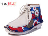民族风女鞋真皮 平底印花朵短靴 韩版手工缝制高帮鞋