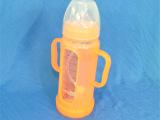 批发防胀气宽口玻璃有柄自动吸管奶瓶  硅胶奶嘴  防爆防摔