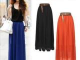 2014年新款外贸原单半身裙 夏季纯色雪纺半身长裙 波西米亚沙滩