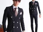 男士西服套装韩版双排扣西服套装潮男小西服外套新郎结婚礼服正装