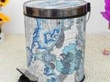 欧式高档垃圾桶 塑料皮革卫生桶 脚踏式垃圾桶 家庭酒店KVT