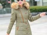 冬装外套女棉衣2015新款大码韩版中长款黑边拼接羽绒棉服厂家直销