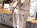 现货2014韩版立领毛呢大衣单排扣毛呢斗篷中长款女装修身外套