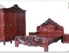 交趾黄檀古旧雕花家具收购 南昌二手大红酸枝沙发成套老家具回收