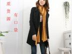 韩版立领长款风衣外套修身女装长袖双排扣 羊毛呢 大衣