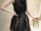 夏季新款韩版蕾丝上衣+欧根纱蓬蓬半身裙 套装