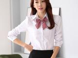 职业白色衬衫女长袖韩版OL大码休闲纯棉女式修身衬衣工作打底衫