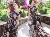 人菁菁同款2015夏季印花连衣裙波西米亚雪纺长裙度假沙滩裙