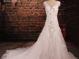 新款露背蕾丝性感婚纱 新娘长拖尾软纱水钻珍珠亮片肩带拉链绑带