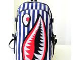 热卖款双肩包 潮酷范儿条纹鲨鱼帆布双肩背包 厂家直销 促销