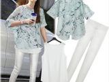 欧洲站2014夏装新款时尚不规则开叉大码雪纺衫休闲长裤三件套装女