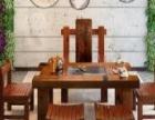 梅州老船木组装地网茶台批发仿古功夫茶桌椅组合