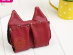 新款个性精口纯深红色双耳猫轻便钥匙包  pu制钥匙保护包