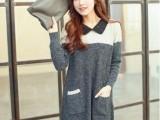 2014春秋装新款女装韩版拼色毛衣套头针织衫蕾丝领翻领中长款大码
