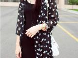 2014欧美夏装五角星星宽松七分袖中长款开衫防晒衣雪纺衫薄外套女