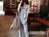 2015夏装新款 韩版显瘦浅色宽松九分牛仔裤 小脚铅笔背带裤女