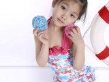 亿莎2014新款女宝宝女童蝴蝶印花裙式儿童连体泳衣