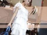 咔妮依 2014韩版夏季新款气质层叠荷叶边露肩吊带连衣裙蛋糕裙
