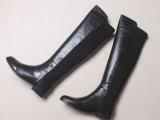 超仙超修脚黑色拼接真皮头层牛皮弹力靴过膝长靴高筒靴及膝靴女靴