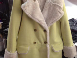 2014韩国东大门代购麂皮绒中长款加厚冬大衣外套 女 一件代发