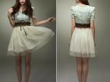 供应新款牛仔裙 公主束腰连衣裙 欧美复古女式连衣裙送腰带D6-1