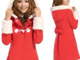 2014秋冬新款 韩版女装带帽活动袖仿毛呢外套修身呢子大衣868