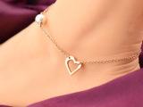 钛钢镂空心形玫瑰金珍珠时尚精致脚链 手饰 脚饰 女式一件代发