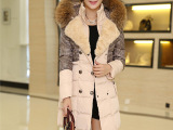 冬装千鸟格 时尚气质奢华貉子大毛毛领加厚羽绒服女 中长款外套