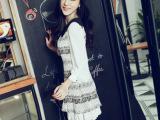 2013秋装新款 韩版圆点复古娃娃领甜美波点印花长袖雪纺连衣裙女