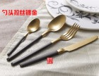 供应锻打磨砂黑金刀叉 西餐餐具 拉丝304不锈钢餐具