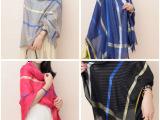 2014新款 主流金丝条纹棉麻大格子围巾 女士百搭丝巾防晒空调披