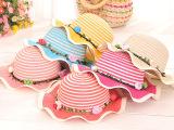 爱茵朵 夏季新款儿童草帽 条纹荷叶边女宝宝大沿遮阳帽防晒沙滩帽