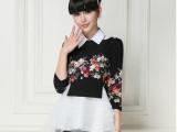 微信代发2014春季新款 欧美风印花欧根纱套装连衣裙一件代发