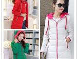 2014新款女式韩版羽绒服休闲带帽简约拼色中长款棉衣保暖拉链棉袄