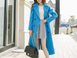 2014冬季新款 夹棉加厚大衣风衣双排扣插肩袖长款毛呢外套女