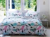 高支高密纯棉贡缎富贵鸟床上四件套