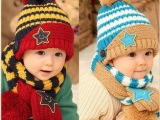 韩版婴儿帽  秋冬季宝宝护耳帽 儿童鸭舌帽 套头帽 围巾两件套装