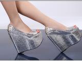 秋季新款16cm高跟时尚鱼嘴欧美夜店高跟鞋防水台超高跟坡跟凉鞋