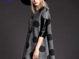 2014冬季新款欧美大牌 国际情人 专柜正品波点宽松斗篷毛呢连衣