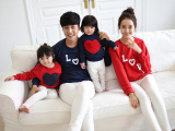 秋冬新款时尚亲子装韩国品牌家庭装纯棉卫衣一家三口装代理批发件