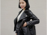 韩国代购ulzzang姜慧研拉链皮衣短外套黑色外套女