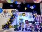 长沙生日宴布置-长沙气球布置-深蓝色系生日派对