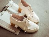 2014秋冬季新款高跟鞋女中跟粗跟韩版英伦女鞋学院风复古牛津单鞋