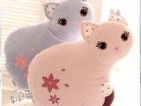 蓝白玩偶正版菲力猫咪 卡通可爱小猫毛绒玩具公仔靠垫 生日礼物