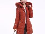 2014冬季新品修身中长款外贸欧洲站时尚棉衣女 女式棉服一件起批
