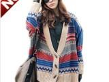 2014秋冬新款 韩版女装民族风彩色编织牛角扣毛衣开衫斗篷大披肩