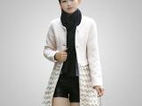 秋冬毛呢大衣外套批发 韩国时尚女式蕾丝拼接圆领长款呢子大衣