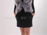 最新时尚狐狸毛腿,皮草背心,生产服装。服饰