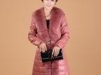 2013新款超大狐狸毛领皮衣外套女韩版修身羽绒中长款皮大衣特价
