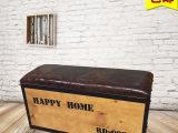 复古美式铁艺工业做旧服装店凳子实木换鞋凳